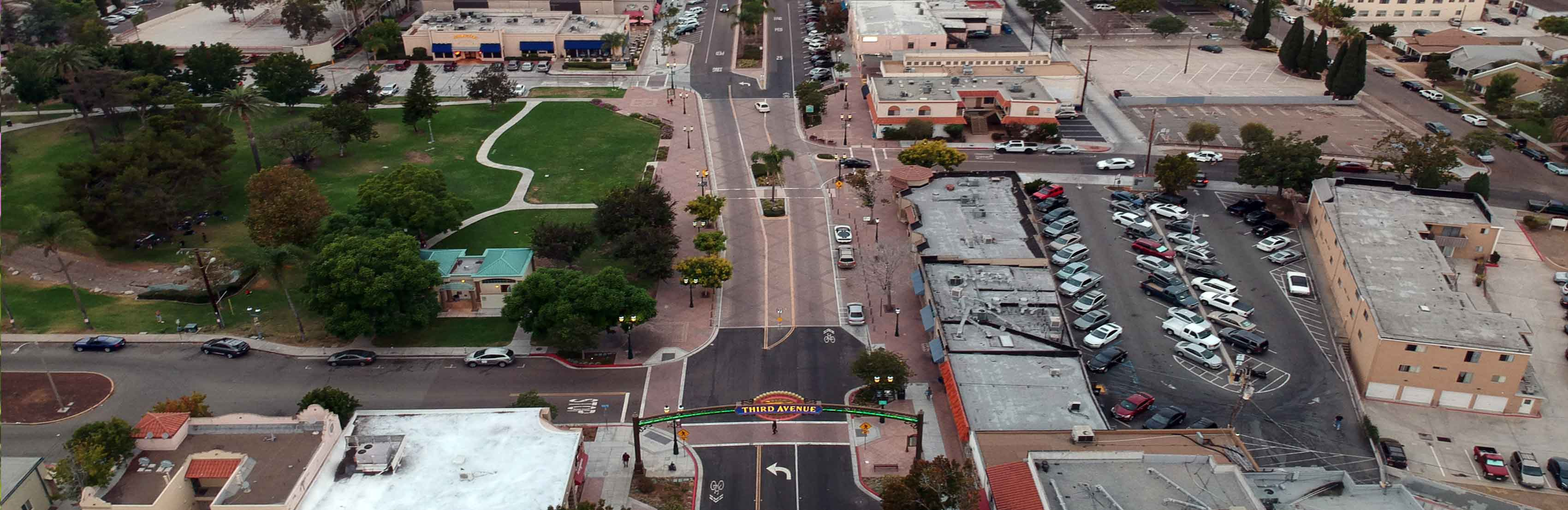 members from tava - picture of the third avenue from above. Drone picture showing the whole street.